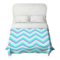 DiaNoche Designs - Duvet Cover - Fairy Heaven Mint II Chevron - Lightweight and super soft brushed twill Duvet Cover sizes Twin, Queen, King.  Cotton Poly blend.  Ties in each corner to secure insert. Blanket insert or comforter slides comfortably into Duvet cover with zipper closure to hold blanket inside.  Blanket not Included. Dye Sublimation printing adheres the ink to the material for long life and durability. Printed top, khaki colored bottom, Machine Washable, Product may vary slightly from image.