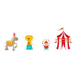 Bebe Diva - Circus Wall Decals - These fun circus wall decals are sure to be a great addition to any nursery or child's room.  Kid friendly, non-toxic, green, phthalates free.