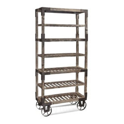 Basett Mirror - inFoundryin Rack - Weathered Gray - The Foundry Rack (Weathered Gray Finish) has the following features:Manufactured by Bassett MirrorPart of the Steam Punk CollectionMade of wood in a gray finishOne of our steam punk-styled bakers racks that will work in almost any kitchen Dimensions: 36 x 16 x 78hWeight: 72 lbs.