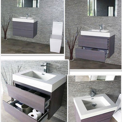 "Bliss 30"" Gray Oak Wall Mount Modern Bathroom Vanity - Marine Veneer Wood construction Console w/ 2 Drawers"