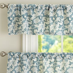 """Maia Cafe Curtain 50 x 24"""", Blue - Designed after an antique Dutch tile pattern, our printed cafe curtain adds visual texture and subtle movement to a room. 50"""" wide; available in valance and two curtain lengths Woven of a linen/cotton blend. Hangs from the pole pocket or from Clip Rings (sold separately). Valance and curtain sold separately. Dry-clean for best results. Imported."""