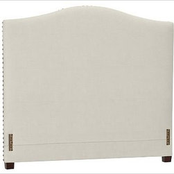 """Raleigh Nailhead Camelback Headboard, King, Brushed Canvas Natural - Crafted by our own master upholsterers in the heart of North Carolina, our upholstered bed and headboard is available in a graceful camelback silhouette. Crafted with a kiln-dried hardwood frame. Headboard, footrail and siderails are thickly padded and tightly upholstered with your choice of fabric. Nailhead detail trims the outer edges of the headboard. Exposed block feet have a hand-applied espresso finish. Headboard also available separately. The headboard-only option is guaranteed to fit with our PB metal bedframe using the headboard hardware. Bed is designed for use with a box spring and mattress. This is a special-order item and ships directly from the manufacturer. To see fabrics available for Quick Ship and to view our order and return policy, click on the Shipping Info tab above. This item can also be customized with your choice of over {{link path='pages/popups/fab_leather_popup.html' class='popup' width='720' height='800'}}80 custom fabrics and colors{{/link}}. For details and pricing on custom fabrics, please call us at 1.800.840.3658 or click Live Help. View and compare with other collections at {{link path='pages/popups/bedroom_DOC.html' class='popup' width='720' height='800'}}Bedroom Furniture Facts{{/link}}. Crafted in the USA. Full: 57.5"""" wide x 83.5"""" long x 59"""" high Queen: 64.5"""" wide x 88.5"""" long x 59"""" high King: 80.5"""" wide x 88.5"""" long x 59"""" high Cal. King: 74.5"""" wide x 92.5"""" long x 59"""" high Full: 57.5"""" wide x 4.5"""" thick x 59"""" high Queen: 64.5"""" wide x 4.5"""" thick x 59"""" high King: 80.5"""" wide x 4.5"""" thick x 59"""" high Cal. King: 74.5"""" wide x 4.5"""" thick x 59"""" high"""