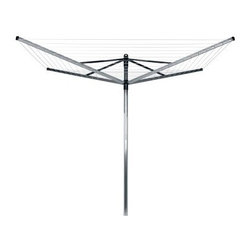 Brabantia 4 Arm Lift O Matic Outdoor Umbrella Clothesline - 196 ft. - About Brabantia Kitchen and HousewaresBrabantia products are designed for today, but with a strong nod to the future. With a wide line of laundry bags, stainless steel garbage cans, trash cans, ironing boards, and so much more, Brabantia is a company you can rely on for quality.
