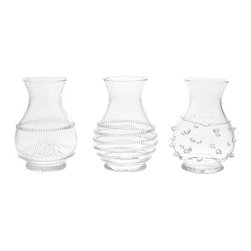 """Juliska - Juliska Mini Vase Trio Clear - Juliska Mini Vase Trio Clear. Dapper as a country gentleman, this rotund vase is cinched with a thread and fastened with a berry. Adds a touch of refinement to wildflowers brought inside after a stroll through a meadow. Dimensions: 3.5"""" H x 2.5"""" W Capacity: 4 oz"""