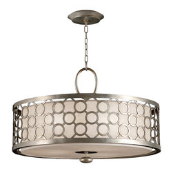 Fine Art Lamps - Allegretto Silver Pendant, 780140ST - Design buffs will go gaga over this artful homage to midcentury design. It's all here, from the perforated grillwork to the Sputnik-style drop at the bottom. The white linen shade diffuses the light, so the mood stays mellow while you mix the martinis. Available in either a burnished gold-leaf or platinized silver-leaf finish.