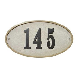 "Qualarc, Inc. - Ridgestone Crushed Stone Address Plaque ""Do it yourself kit"", Oval Sandstone - Made with real crushed stone the Ridgestone plaques feature a rich stone textured background with polished border. Uv and weather resistant, with color all throughout material. Plaques include large 4"" raised polymer numbers 0-9 twice in the box along with a tube of adhesive glue, number template and mounting hardware. Product ships within 3-5 business days. Dimensions: 13-1/4"" x 7-1/8"""