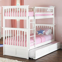 White Columbia Twin over Twin Bunk Bed with Raised Panel Trundle Bed - Place the White Columbia Twin over Twin Bunk Bed with Raised Panel Trundle Bed - Atlantic Furniture in your child's room and you'll be adding charm to the space. This bed will look stunning in a younger child's room and will remain beautiful as your child grows through the teen years. The style is classic and timeless making it a piece your child can enjoy for years. It's made of sturdy construction using Rubberwood, that's eco-friendly and known for it's strength and beauty. Along with offering two comfy twins in the space of just one, it also includes a 3rd bed that can be pulled out whenever needed.