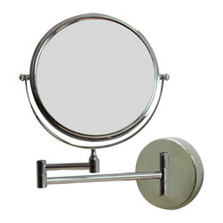 American Imaginations - 8-in. W Round Chrome Wall Mount Magnifying Makeup Mirror With Dual 1x/5x Zoom - This elegant 8 inch round wall mount magnifying mirror is a perfect addition to any bathroom. It includes a dual 1x/5x zoom. 8 in. x 8 in. round magnifying makeup mirror in polished chrome finish. 360 degree swivel. This Magnifying Mirror features White hardware. CE and RoHS certified, Quality control approved in Canada and re-inspected prior to shipping your order