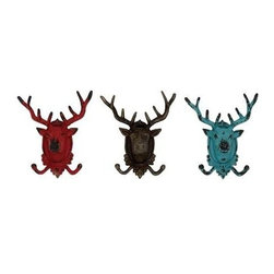 Benzara - Crazy Sassy Deer Hooks - Crazy Sassy Deer hooks. Arrival of these spunk deer hooks will surely make you smile and go crazy. Some assembly may be required.