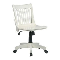 Office Star - Office Star Deluxe Armless Wood Banker's Chair With Wood Seat In Antique White F - Deluxe Armless Wood Banker's Chair With Wood Seat In Antique White Finish by Office Star