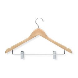 Honey Can Do - Basic Suit Hanger with Clips Maple Finish - P - Streamlined shape. Keeps clothing looking freshly-pressed. Metal clips. Keeps pants in place. Limited lifetime warranty. 17.5 in. L x 0.47 in. W x 10.75 in. H (1.04 lbs.)Honey-Can-Do HNG-01209 3-Pack Wooden Suit Hanger with Clips, Maple. Beautiful, wooden clothes hanger is slightly contoured to keep shirts, dresses, jackets, and pants wrinkle-free. Perfect for keeping coordinating pieces together, this versatile clothes hanger is a great time saver. Features a 360 degree swivel rod hook to hang items easily on any closet rod, towel bar, or standard size door. Durable clips are adjustable to accommodate a variety of sizes and styles, plus incorporate rubber grips for a non-slip surface that holds fabrics beautifully in place.