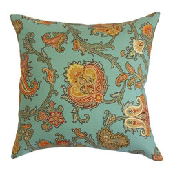 "The Pillow Collection - Orla Floral Pillow Blue Orange - Fill your room with this cozy accent pillow from our collection. This decor pillow is adorned with a lovely floral pattern which brings a charming vibe to your interiors. With shades of orange, yellow and green, the floral print is highlighted against a blue background. You can place this square pillow anywhere inside your home. This 18"" pillow is made from 100% high-quality cotton material, which makes it easy to clean and maintain. Hidden zipper closure for easy cover removal.  Knife edge finish on all four sides.  Reversible pillow with the same fabric on the back side.  Spot cleaning suggested."
