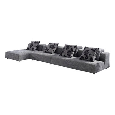 Tosh Furniture - Modern Gray Fabric Upholstered Modular Sectional Sofa With Ottoman - This sectional sofa set is for those who appreciate quality furnishings that are functional, yet elegant. The gray upholstery allows for many options in terms of accent colors and dcor. It's oversized seating area, conservative design and contrasting back pillows make for an inviting collection that your friends and family will be drawn to. This collection includes a 2 seater, a 3 seater, a chaise and stool. Link them together or use as stand alones to define the right look that reflects your personality.