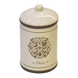 Cotton Box Romance Dolomite Champagne - This cotton box for bathrooms Romance is made of dolomite with rosette patterns. It adds a classical touch and feel to your decor. This circular shaped cotton box is an ideal organizer that gives a truly antique feel in any bathroom. Diameter of 3.14-Inch and a height of 5.51-Inch. Wipe clean with soapy water. Color champagne. Accessorize your bathroom or vanity set countertop in a classical style with this charming cotton box! Complete your Romance decoration with other products of the same collection. Imported.