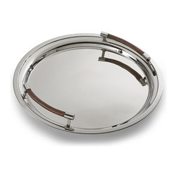"""Frontgate - Collins Serving Tray - All pieces made of 18/8 stainless steel and teak wood. The 17"""" and 21"""" tubs will chill multiple bottles, and the Ice Bucket's matching lid keeps ice from melting. Double-walled construction in Beverage Tubs and Ice Bucket allows a layer of air to function as the insulator and eliminates condensation, keeping tables dry. Ideal for parties as well as everyday use. The Serving Tray is generously sized for serving anything from martinis to hors d'oeuvres. With the Collins Barware Collection, you can protect your table while making a stunning presentation. Each gleaming stainless steel piece boasts handsome teak accents, and the double-walled construction of the Beverage Tubs and Ice Bucket maximizes cold retention while eliminating condensation. . . . . . Beverage Tubs leave ample room for ice and drinks and handsomely present your favorite bottles. Collins Barware Collection makes an elegant statement on any bar, table or buffet, displaying anything from fruit to a fine bottle of champagne. Teak handles on the Serving Tray facilitate lifting and carrying. Wood bases on the Beverage Tub and Ice Bucket are removable for cleaning. Perfect for indoor or outdoor use. Wipe clean with a soft cloth."""