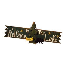 Sleepy's Signs - Welcome to the Lake 3-D Rustic Wood Sign - Cabin  Welcome  Sign          Welcome  to  the  Lake  in  vintage  3-D!  This  rustic  wood  sign  is  truly  three  dimensional  with  wood  cutouts  of  a  pine  tree,  canoe,  and  black  bear  standing  out  from  the  distressed  forest  green  finish  on  solid  wood.  Stunning  white  lettering  announces  a  whole-hearted  greeting  to  friends  and  family  alike,  while  gold  stars  enliven  this  wonderful  wooden  sign.  Handmade  in  the  USA.                  Rustic  Wood  Sign              36  inches  wide  x  12  inches  high              Rope  Hanger              Made  in  USA              Allow  4-6  weeks  for  shipping