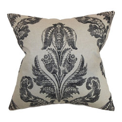 "The Pillow Collection - Figari Floral Pillow Black Linen 20"" x 20"" - Make your home a perfect place for relaxation by adding this floral throw pillow to your furniture. This accent pillow is a beautiful decor piece which brings an elegant touch to your interiors. This square pillow features a damask print pattern in black and set against a linen colored background. This down-filled pillow is made from 100% soft cotton fabric. Hidden zipper closure for easy cover removal.  Knife edge finish on all four sides.  Reversible pillow with the same fabric on the back side.  Spot cleaning suggested."