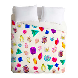 DENY Designs - DENY Designs Natalie Baca Rhinestone Reverie In White Duvet Cover - Lightweight - Turn your basic, boring down comforter into the super stylish focal point of your bedroom. Our Lightweight Duvet is made from an ultra soft, lightweight woven polyester, ivory-colored top with a 100% polyester, ivory-colored bottom. They include a hidden zipper with interior corner ties to secure your comforter. It is comfy, fade-resistant, machine washable and custom printed for each and every customer. If you're looking for a heavier duvet option, be sure to check out our Luxe Duvets!
