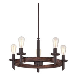 """Quoizel - Rustic - Lodge Quoizel Tavern 5-Light Dark Bronze Chandelier - Inspired by industrial design this chandelier has a clean look that adds handsome elegance to any room. Finished in a dark bronze for a bold statement. From the Quoizel Tavern collection. Dark bronze chandelier. Five maximum 100 watt or equivalent bulbs (not included). 26"""" wide. 13"""" high.   Dark bronze chandelier.  Five maximum 100 watt or equivalent bulbs (not included).  26"""" wide.  13"""" high."""