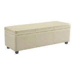 Simpli Home - Avalon Large Rectangular Cream Faux Leather Storage Ottoman Bench - Clutter and mess everywhere.  What you need is an tasteful, well made storage solution.   The Avalon Large Rectangular Storage Ottoman Bench is made from durable Cream Faux Leather and is the answer to all your needs.  This attractive ottoman is extra strong and durable and features a beautiful stiched leather exterior and large storage interior.  Whether you use this ottoman in your entryway, living room, family room, basement or bedroom, it will allow you to hide away all that mess.  This attractive ottoman comes in five colors - brown, black, cream, red and blue.