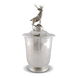Vagabond House - Elk Pewter Ice Bucket - This classically shaped, pure pewter ice bucket is topped with a statuette finial of a detailed Elk imagined to be looking out across the plains from a mountain ledge. The lidded ice bucket has a satin finish, the finial is lightly antiqued.