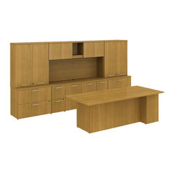 "Bush - Bush 300 Series 84"" Conference Desk with Storage Wall in Modern Cherry - Bush - office Sets - 300S009MC - Integrated scalable and suite ready BBF Modern Cherry 300 Series Executive 84""W x 30""D Conference Desk with Storage Wall offers ample work surface and plenty of storage. Use as a complete kit or as building blocks to create larger or smaller configurations depending on space. Executive desk features a solid 1""-thick work surface that won't sag and combines two box drawers for office supplies and one file drawer for letter- legal-or A4-size files. Convenient Storage Credenza has four file drawers and a center storage cabinet with an adjustable shelf to help keep desk area tidy. Right-and-left side lateral file configurations with overhead storage create an impressive backdrop. 36""W Tall Wardrobe can hold coats or other personal effects. Desktop wire management grommets provide easy access and concealment of unsightly cords and cables. Diamond Coat (TM) top surfaces resist scratches stains dings and dents. Durable edge banding protects against collisions. Includes BBF Limited Lifetime warranty."