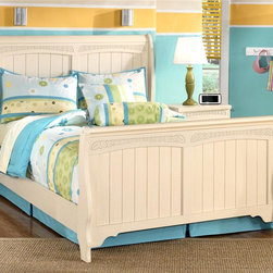 Signature Design by Ashley - Full Sleigh Bed w Cream Finish & Leaf Motif - Full Sleigh Bed includes Headboard, Footboard and Rails. Color/Finish: Cream. Bun feet on cases and beds. Graphic leaf design pattern on horizontal rails. Arched top drawers. Bedroom group has the versatility of being adult or youth. Headboard: 56 in. W x 7 in. D x 51 in. H. Footboard: 56 in. W x 6 in. D x 31 in. H