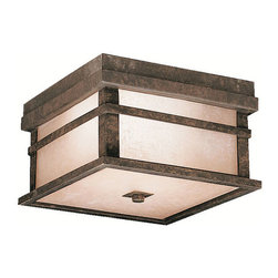 Kichler 2-Light Outdoor Fixture - Aged Bronze Exterior - Two Light Outdoor Fixture. With rustic charm as unique as its design, the cross creek collection puts a modern spin on a classic fixture. Each piece is constructed from long lasting cast aluminum ensuring a quality fit and finish that will last for ages. Our aged bronze finish adds a distressed appearance to the piece, while textured linen seedy glass panels additional warmth make the cross creek collection the perfect balance of ambiance, style, and value. This two light outdoor ceiling flush mount from the cross creek collection uses 75-watt bulbs and is 5 high. It is UL listed for damp location.