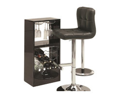 """Coaster - Bar Table (Black) By Coaster - Add this versatile and modern piece to any room. A wine rack and stemware rack make it easy to store up to 12 bottles of wine. Also features a sturdy tempered black glass table top. Finished in black high gloss with a chrome base. Dims: 47.25"""" X 15.75"""" X 43.50"""". Matching bar stools sold separately."""