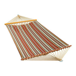 Algoma Net Company, Div. of Gleason Co - 11 Foot Polyester Fabric Hammock - Green - Invite a friend to read, bird watch, or just enjoy your own space for a while in this beautiful fabric hammock. It is crafted from weather resistant spun polyester fabric and has a non-tilt sculptured pocket design. It's the perfect place to enjoy a quiet afternoon. Made in the USA.