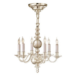 Mini George II Chandelier - I'm always on the search for chandeliers for bathrooms and kitchens and that search comes with certain restrictions. There needs to be enough light and the fixtures can't be too big or too tall.  This chandelier is both restrained and sleek while being glamorous at the same time.