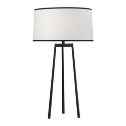 Robert Abbey - Shinto Tripod Table Lamp by Robert Abbey - The Robert Abbey Shinto Tripod Table Lamp has a clearly defined outline enhanced by the large Ascot White fabric shade with Black contrast trim. The Shinto Tripod Table Lamp also features a Wrought Iron finish over steel, and a 3 Way Switch for lighting control.Robert Abbey has been designing and manufacturing fine lighting since 1946. They offer a diverse collection--wall swingers, chandeliers, floor lamps and more--in a myriad of styles, from tradition to neoclassical to groovy. Collaborating with acclaimed designers Jonathan Adler, Rico Espinet and David Easton, Robert Abbey creates impeccable lighting that is perfect for modern everyday living.The Robert Abbey Shinto Tripod Table Lamp is available with the following:Details:Large drum-shaped, Ascot White fabric shade with Black trimSteel bodyWrought Iron finish3-way switchDesigned by Rico EspinetLighting: One 150 Watt 120 Volt Type A Incandescent lamp (not included).Shipping:This item usually ships within 4-6 weeks.