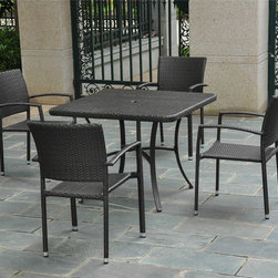 International Caravan - International Caravan Barcelona Resin Wicker/Aluminum 39-inch Square Table with - An excellent place to sit and have your morning coffee,this classic square outdoor table from the Barcelona Series is both stylish and sophisticated. It is weather resistant,so it works great on a patio or deck,and it has a durable aluminum frame.