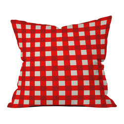 DENY Designs - Holli Zollinger Red Gingham Outdoor Throw Pillow - Do you hear that noise? it's your outdoor area begging for a facelift and what better way to turn up the chic than with our outdoor throw pillow collection? Made from water and mildew proof woven polyester, our indoor/outdoor throw pillow is the perfect way to add some vibrance and character to your boring outdoor furniture while giving the rain a run for its money.