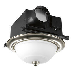 Progress Lighting - Progress Lighting Decorative Bathroom Exhaust Fan X-BWRTS90-800VP - This Progress Lighting bathroom exhaust fan features a decorative look with hidden functionality. The trim features a perforated design that does double duty as the ventilation holes for the fan. It has been finished in a beautiful polished nickel-toned finish that compliments the frosted melon glass shade.