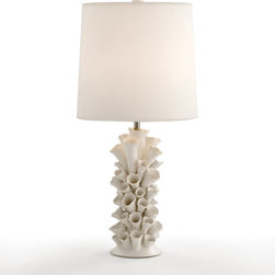 Cassidy Satin White Porcelain Lamp - Beyond coral, organic sea life inspires d�cor in delightfully whimsical manners. Consider this cluster of porcelain tubular shapes, made contemporary by the white-on-white treatment and softly illuminated from the warm wash of light beneath the sheer ivory silk shade.