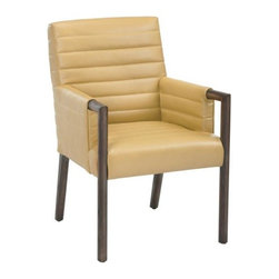 Contemporary Urban Dining Chair with Rounded Distressed Wood Frame, Mustard - Contemporary Urban Dining Chair with Rounded Distressed Wood Frame