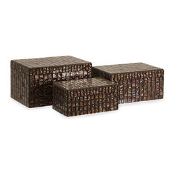 "IMAX - Orchid Mosaic Boxes - Set of 3 - Whether used in your bedroom to store your jewelry, near your home theater for k ping remote controls and other necessities close at hand, or simply as a beautiful accent to your home decor, this set of decorative boxes will soon become a favorite part of your space. With a mosaic of small, iridescent tiles decorating each, these pieces will bring an new level of depth and interest into any style of home decor. For a coordinated look purchase matching vases. Item Dimensions: (3.25-4-5.5""h x 7.25-8.5-9.75""w x 4-5.25-6.5"")"