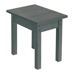 C.R. Plastic Products - C.R. Plastics Small Table In Slate Grey - Can be used for residential or commercial use, Ergonomically designed, Heavy 78 gauge plastic lumber 12 used by competitors, All stainless steel hardware, No painting, No slivers, No Rot, Completely waterproof