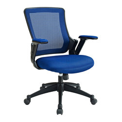 """LexMod - Aspire Fabric Office Chair in Blue - Aspire Fabric Office Chair in Blue - Capture some great moments of productivity with an office chair made just for you. View features a fully-ventilated mesh back; waterfall foam padded seat; height adjustable arms; and a heavy nylon base with five dual-wheel casters. It's everything you need in an office chair with the sturdy build and personal fit that keeps you looking forward. Set Includes: One - Aspire Office Chair with Mesh Back and Mesh Fabric Seat Breathable Mesh Back, Comfortable sponge seat, Seat tilt lock with tension control, Adjustable Seat Height, Adjustable padded armrests, Heavy duty nylon base with dual wheel casters, Easy to Assemble Overall Product Dimensions: 24""""L x 24""""W x 36 - 38.5""""H Seat Dimensions: 20.5""""L x 20""""W x 17 - 19.5""""HBACKrest Dimensions: 19""""W x 20""""H Armrest Height: 25.5 - 28""""H - Mid Century Modern Furniture."""
