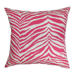 "The Pillow Collection - Cecania Zebra Print Pillow Pink White 18"" x 18"" - Add an appealing decor piece to your home with this beautiful zebra print throw pillow. The accent pillow features a combination of pretty colors, which will instantly lighten up your home. This square pillow not only provides style but also lends comfort and convenience. With this 18"" pillow you can easily change your decor style without spending a fortune. Made of 100% plush and durable cotton fabric. Hidden zipper closure for easy cover removal.  Knife edge finish on all four sides.  Reversible pillow with the same fabric on the back side.  Spot cleaning suggested."