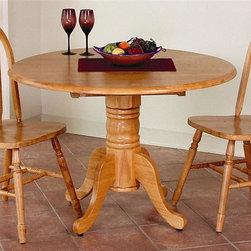 Sunset Trading - 3-Pc Eco-Friendly Extension Table Set - Includes one table and two Windsor style arrow back chairs. Traditional classic beauty and style, yet always dependably functional. Sturdy quality craftsmanship. Table:. Solid handcrafted hardwood. Perfect for small areas. Round cafe height table accommodating 2-4 people. Drop table top and base. Standard table height pedestal base. Two 10 in. double drop leafs on either side of table for space-saving convenience. Chair:. Curved, comfort back and scooped seat. Perfectly carved and steel reinforced turned legs. Large backrest and seating area to provide ideal seating solution. Warranty: One year. Made from Malaysian oak. Light oak finish. Made in Malaysia. Table assembly required. Chair: 20 in. W x 19.5 in. D x 38 in. H (16 lbs.). Table:. Minimum: 42 in. L x 24 in. W x 30 in. H. Maximum: 42 in. Dia. x 30 in. H. Weight: 68.22 lbs.This beautifully designed furniture supplied by Sunset Trading will assure you many years of use and enjoyment. Add classic charm to your home without compromising space or style. This Sunset Trading - Sunset Selections Collection Table serves your day-to-day needs yet transforms into the extra needed dining space when guests drop by. Complete your dining decor with the country charm of timeless casual dining chairs from the Sunset Trading - Sunset Selections Collection. Offering , your family and friends will enjoy the seating comfort of these inviting relaxed dining chairs for years to come!