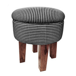 BrandWave - Herringbone Foot Stool Black - The upholstered piping pillow top seat sits atop carved Shesame wood legs. The traditional houndstooth pattern is signature to BrandWave. We loved it so much in our rugs that we carried it over to a versatile stool collection. Enjoy this piece in six of our core colors.