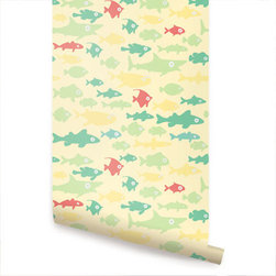 Fish Tank Yellow - Fish Tank peel & stick fabric wallpaper. This re-positionable wallpaper is designed and made in our studios in New Jersey. The designs are printed onto an adhesive backed fabric that can be removed, repositioned and reused over and over again. They do not leave any residue on your walls and are ideal for DIY room makeovers without the mess and headaches of traditional wallpaper.