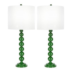 Safavieh - Randall Table Lamp, Set of 2 - The classic stacked ball body design is made modern with an on-trend shade of tangerine in this tall and perfectly balanced emerald green lamp. Crafted of high gloss-finished metal, the 32-inch high lamp is topped with a hard white drum shade of cotton and polyester.