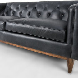 Bryght - Natty Sofa - Bring style center stage in your space with the Natty sofa. Tufted back, slope arms and a beautiful wooden base serves to enhance the natural tone and texture variation in the leather.