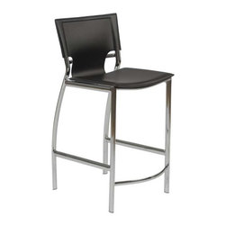 Eurostyle - Eurostyle Vinnie-C Counter Chair in Black Leather & Chrome [Set of 2] - Counter Chair in Black Leather & Chrome belongs to Vinnie Collection by Eurostyle The Vinnie Counter Stool represents the future of modern chair design with its futuristic styling and progressive seating concept. Featuring a chromed steel frame with a leather seat and back available in 3 different color options including Brown, Black, and White. These features make the Vinnie Counter Stool a must have piece for eating areas in homes. The Vinnie Collection also features a Bar Height Stool. Counter Chair (2)