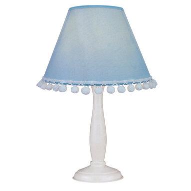 Lite Source - Table Lamp - White Wood Body/Light Blue Dot Shade - Table Lamp - White Wood Body/Light Blue Dot Shade