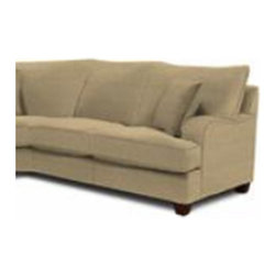 "Klaussner Furniture - Canyon Left Arm Facing Reclining Sofa - The Canyon collection is a must for any family home. Comfort is king with the attached pillow back, deep seating deck, tapered wood legs, and wide rounded arms. The Canyon sectional comes standard with three arm pillows and is covered with a micro suede that is long lasting, easily cleaned and is a durable fabric that will last for years to come. Features: -Canyon collection. -Upholstery: Fabric. -3 Matching arm pillows. -Attached pillow backs. -Deep seating deck. -Tapered wood legs. -Casual lifestyle. -Made in the USA. Dimensions: -Seat Depth: 24"". -Seat Height: 22"". -Distance between arms: 70"". -Overall Dimensions: 40"" H x 98"" W x 40"" D, 162 lbs."