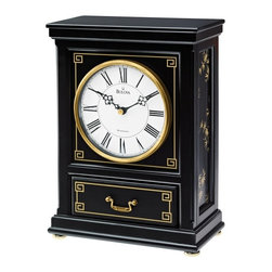BULOVA - Willow Mantel Clock with Triple-chime movement - Wood case, black finish